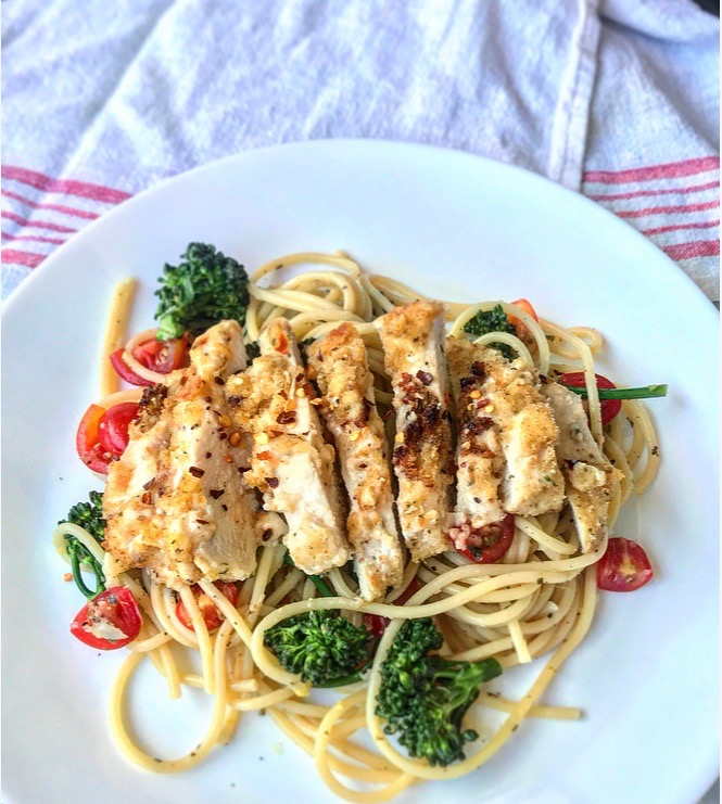 Parmesan Crusted Chicken Pasta